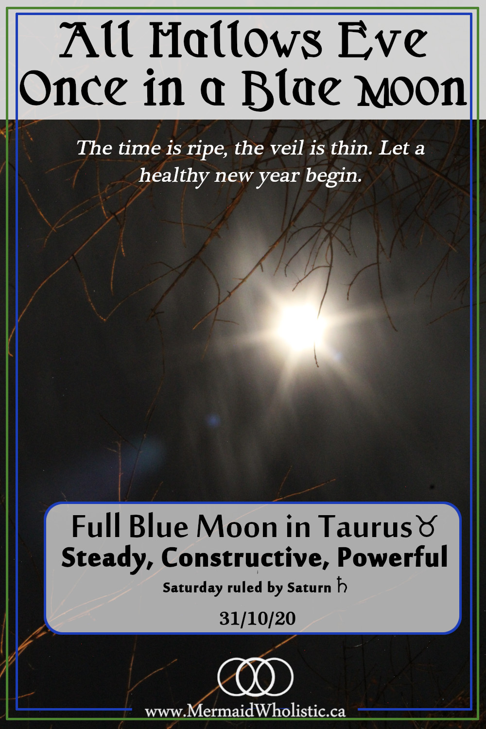 Rare blue moon on October 31st 2020